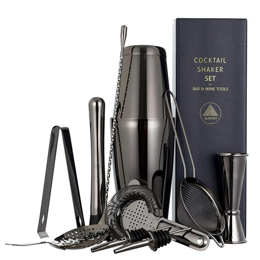 11-piece Black Cocktail Shaker Bar Set with Shakers, Strainer, Double Jigger