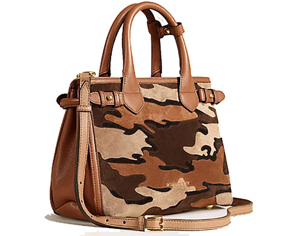 Burberry The Small Banner in Camouflage Suede Tan Handbag