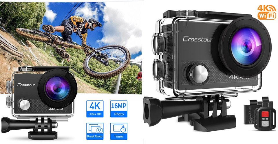 Crosstour Action Camera 4K WiFi Sports Camera