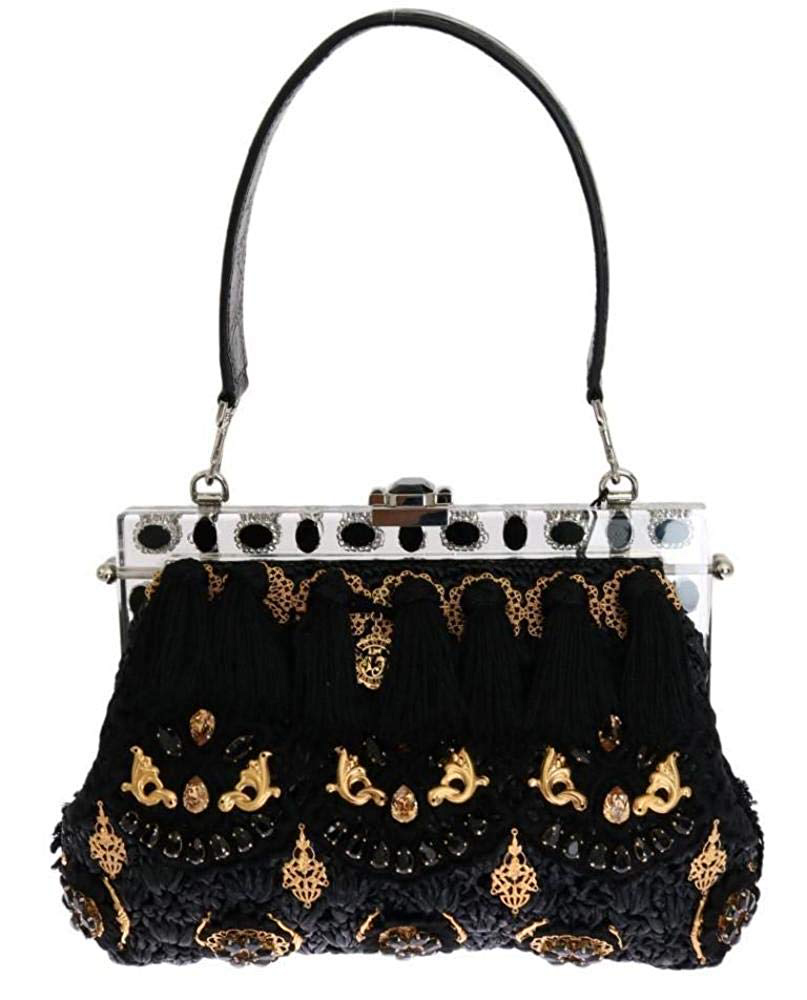 Dolce & Gabbana - Black Tassel Gold Baroque Crystal VANDA Bag