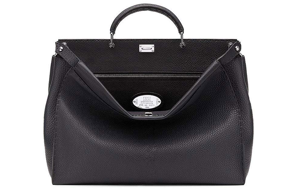 Fendi Peekaboo Black Roman Calf Leather Handbag