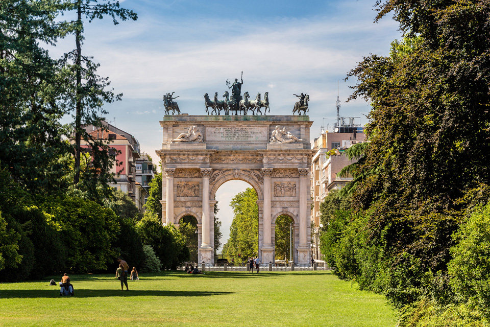 Arco della Pace and gardens of Parco Sempione, Milan, Italy