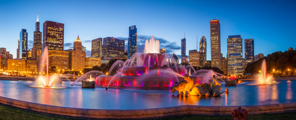 Buckingham Fountain in Chicago is one of the largest fountains in the world.