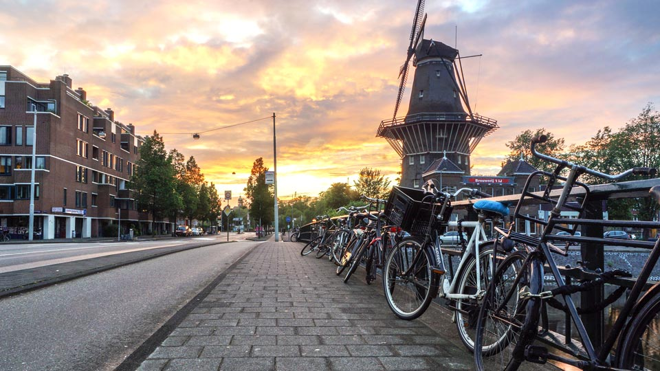 Amsterdam windmill, bikes and canal