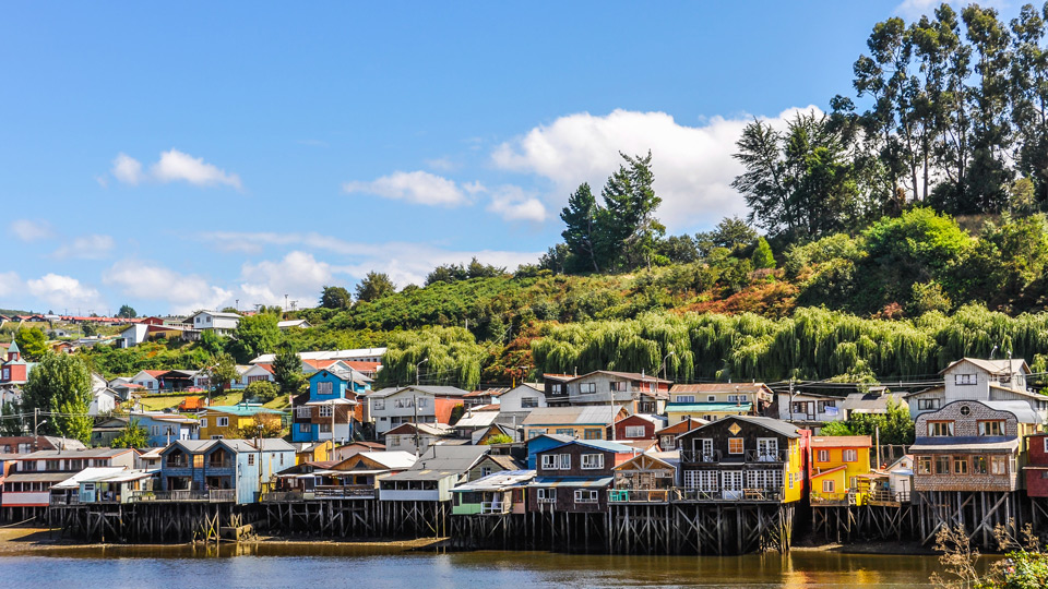 Houses on Chiloe Island, Chile.