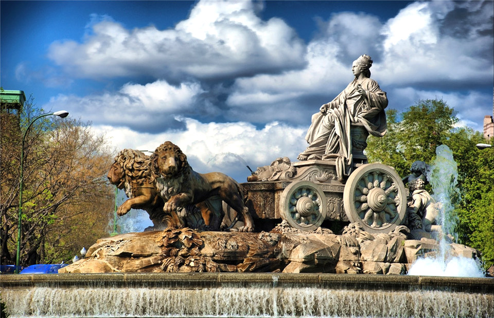 Cybele's Fountain or Fuente de la Cibeles is one of the most popular fountains in Madrid, Spain.