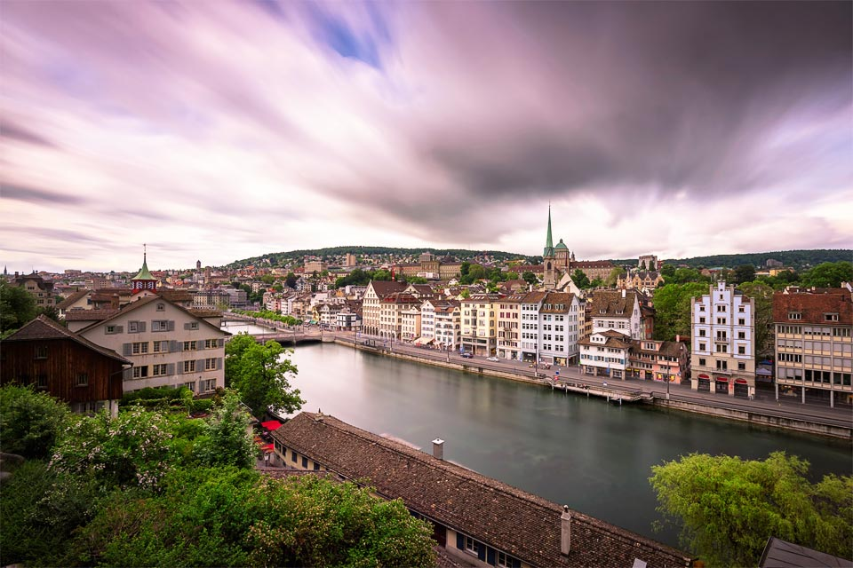 Limmat River from Lindenhof Hill, Zurich, Switzerland