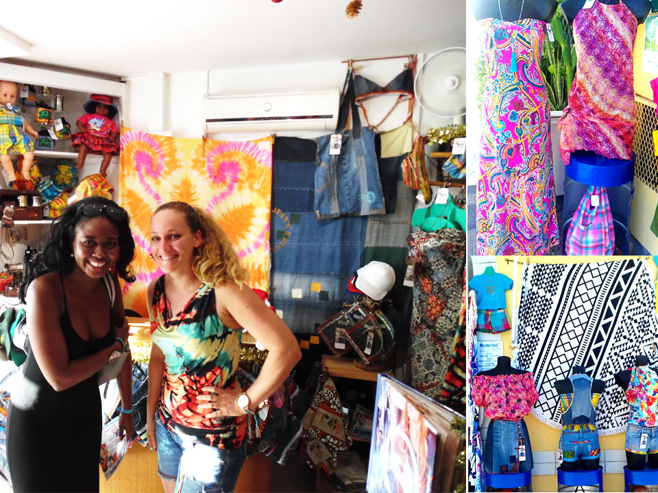 Garments on sale in Sainte Anne Market. Guadeloupe
