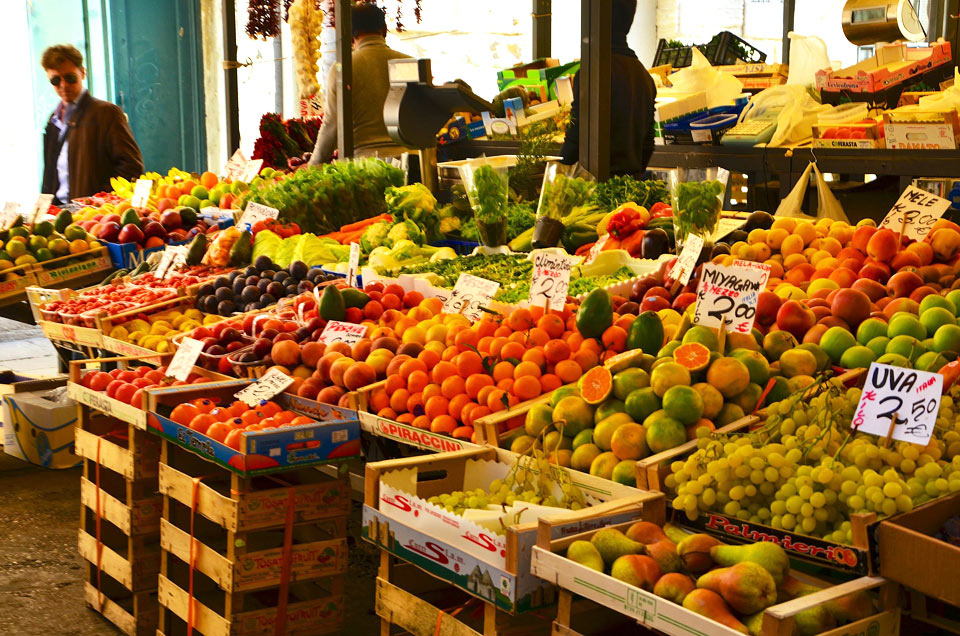 Fruits and vegetables in the Rialto Market.