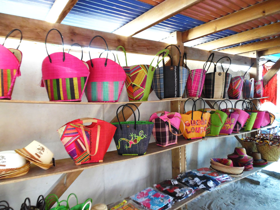 Bags on display at the Sainte Anne's Market, Guadeloupe