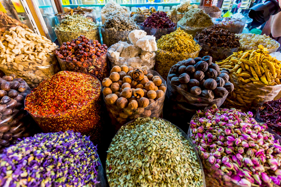 Dried herbs, flowers and spices at the Spice Souk at Deira, Dubai