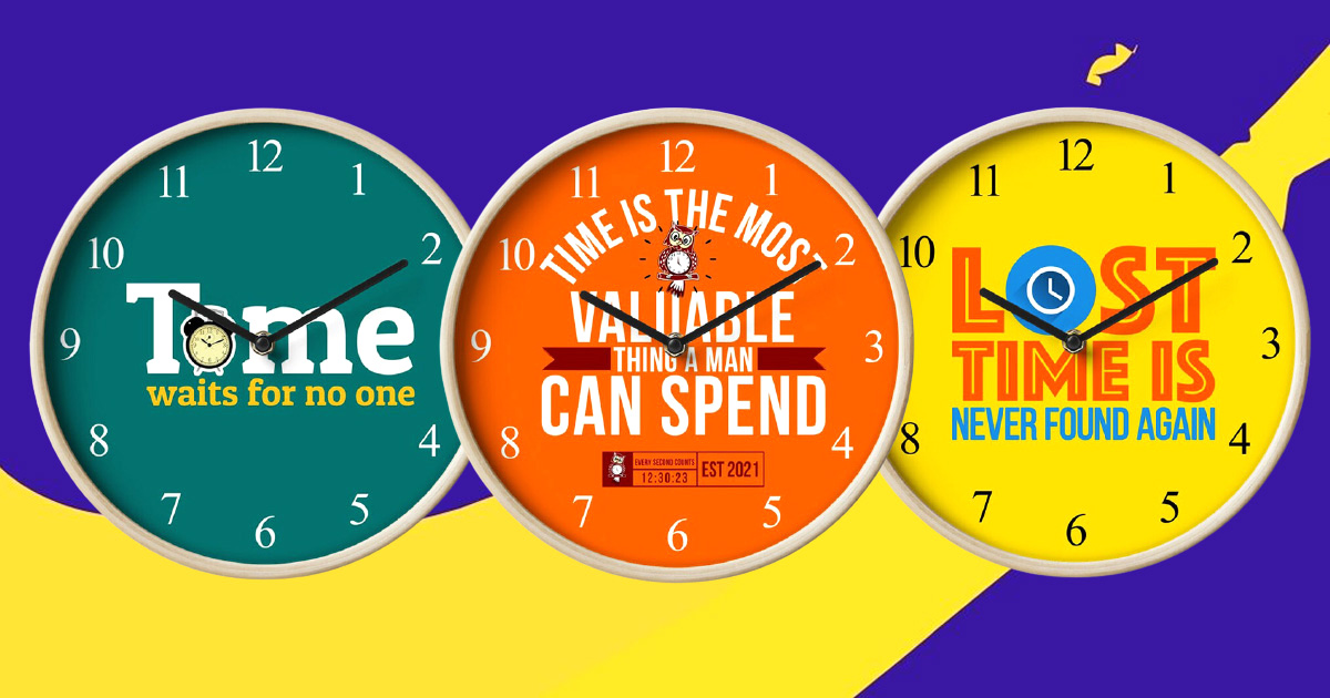 Graphic Wall Clocks With A Message That Remind You How Valuable Time Is