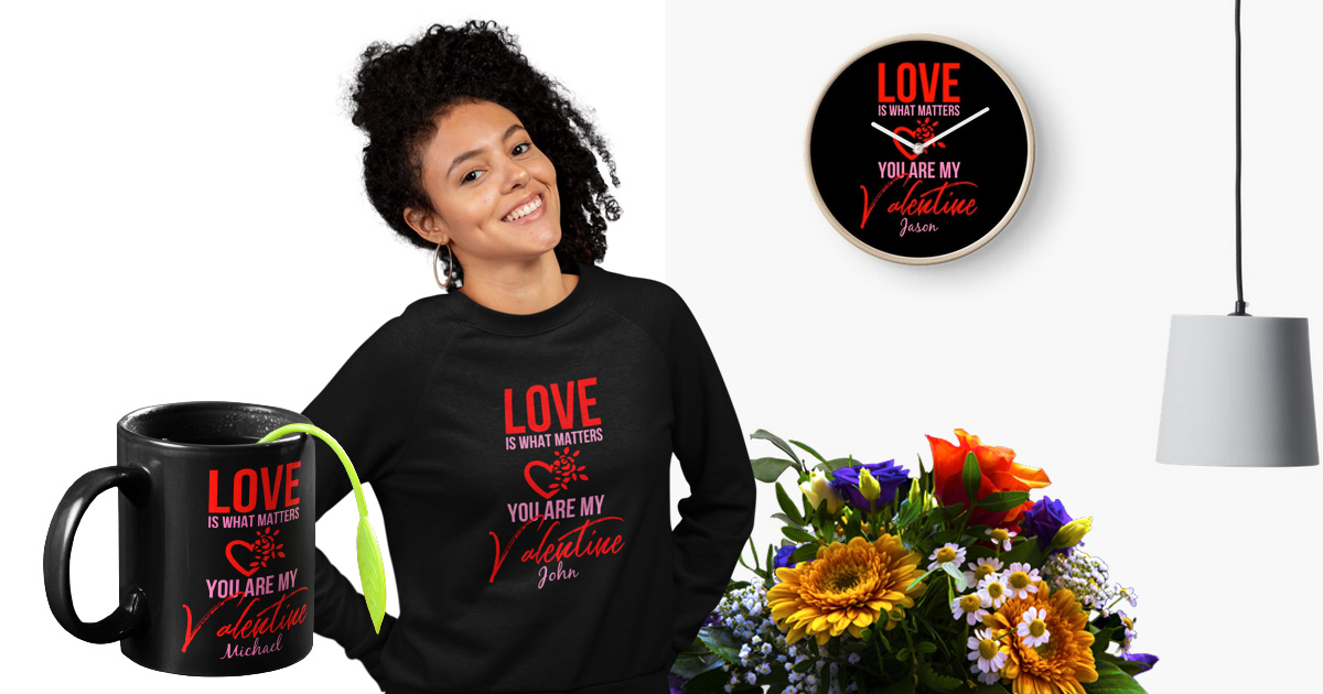 Cute Valentine's Day Tshirts, Mugs And Clocks That Say I Love You