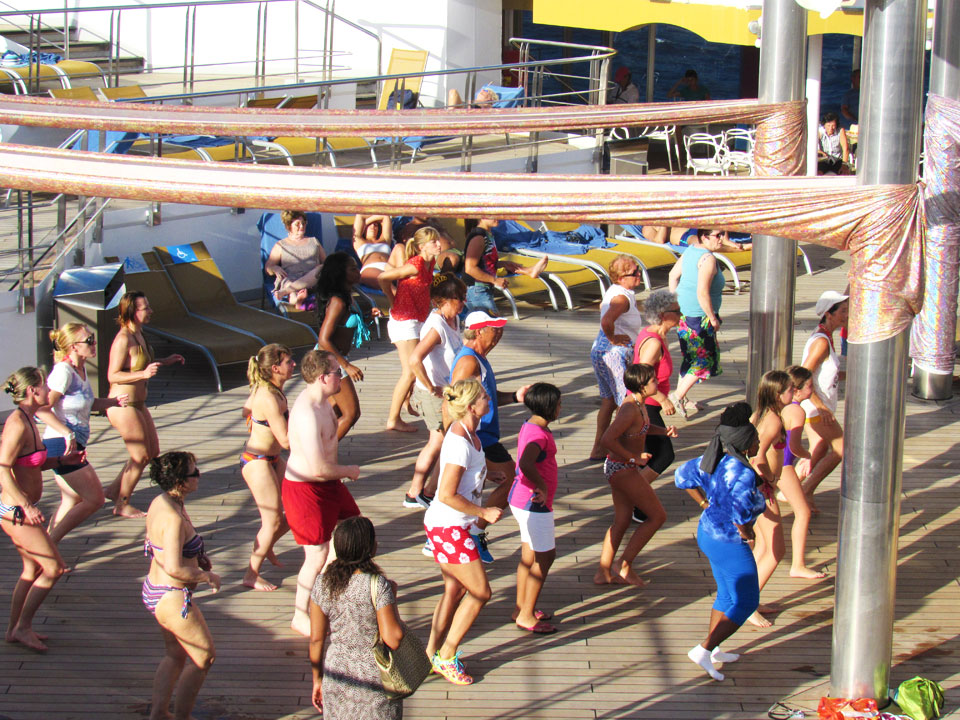 Zumba classes on the sun deck of the Costa Magica